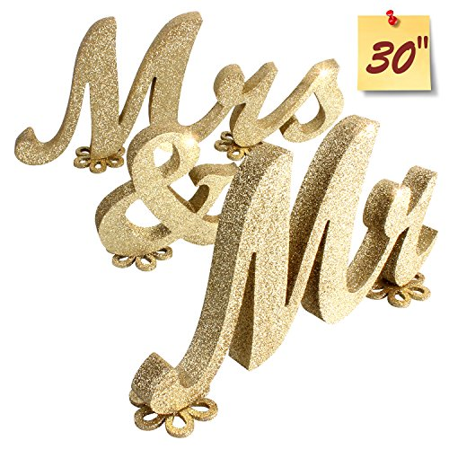 SROOD Mr and Mrs Sign Wedding decorations Mr & Mrs Sign Sweetheart Wedding Table Decorations Wooden letters Gold - Wooden Glitter