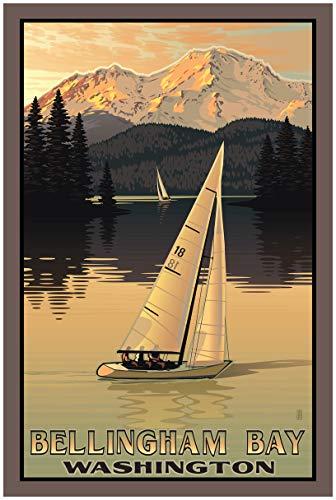 Bellingham Washington Sailboating Travel Art Print Poster by Paul Leighton (24