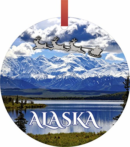- Santa and Sleigh Over The Denali Mountains, Alaska Flat Round - Shaped Christmas Holiday Ornament - Double-Sided - Made in the U.S.A. by Lea Elliot Inc. TM