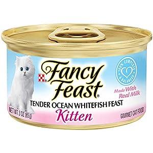 Purina Fancy Feast Wet Kitten Food, Tender Ocean Whitefish Feast, 3 oz Cans (Pack of 24) 115