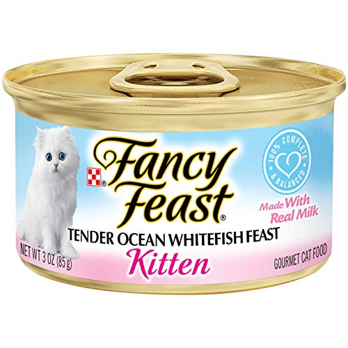 Purina Fancy Feast Wet Kitten Food, Tender Ocean Whitefish Feast, 3 oz Cans (Pack of 24)