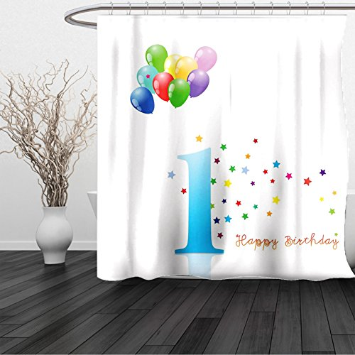 HAIXIA Shower Curtain 1st Birthday Kids Party Theme One with Abstract Colorful Stars and Balloons Art Queen (Disneyland Halloween Party Show Times)