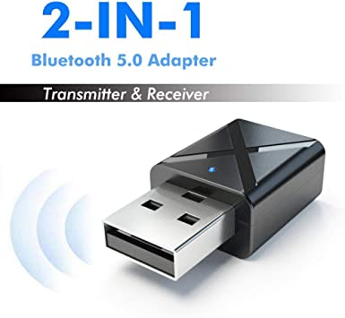 TAIKOIN Bluetooth Adapter with Wireless Mini USB Wireless Bluetooth 5.0 Dongle Audio Adapter Receiver Transmitter for PC