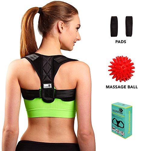 Back Posture Corrector Brace for Women Men Kids - Free Massage Ball - Elastic Posture Brace - Adjustable (29