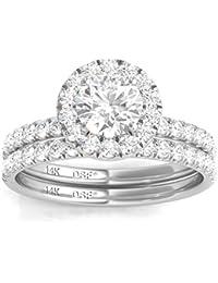 14K White Gold Diamond Halo Wedding Ring Set (1.50 Ct tw, IGI USA Cert. GH/I1)