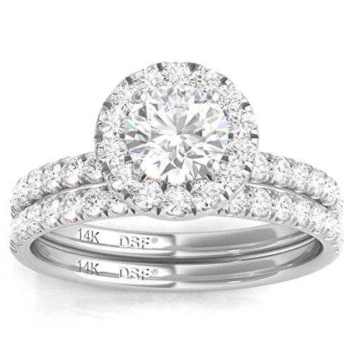 Diamond Studs Forever 14K White Gold Diamond Halo Wedding Ring Set (1.50 Ct tw, IGI USA Cert. GH/I1)