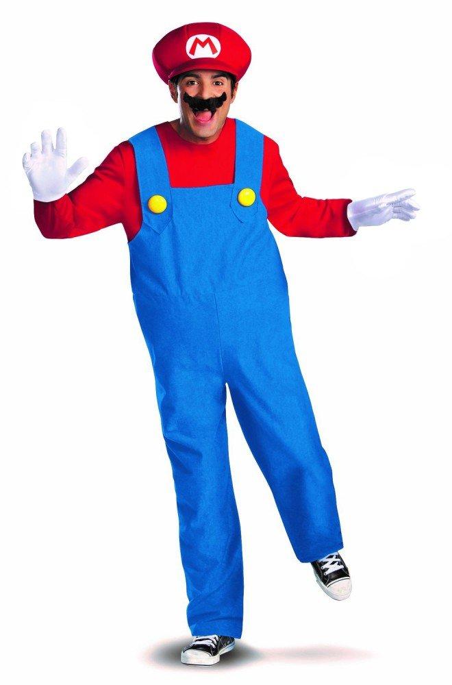 shoperama Hombre Disfraz de Super Mario Bros. Rojo/Azul Bothers Revestimiento de la Marca mimetismo, tamaño: M – Deluxe Versión