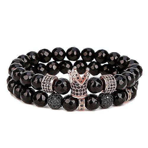 (ASHMITA Bead Bracelet for Men Charm Rose Gold Crown Bracelets 8mm Faceted Matte Onyx)
