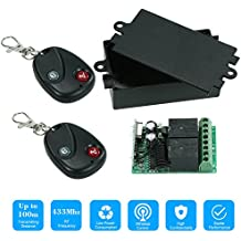 KKmoon 433Mhz DC 12V 2CH Universal 10A Relay Wireless Remote Control Switch Receiver Module and 1PCS 2 Key RF 433 Mhz Transmitter Remote Controls 1527 Chip Smart Home Automation