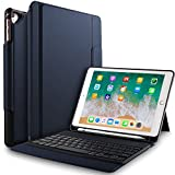 IVSO Apple New iPad 9.7 inch Wireless Keyboard Case, Ultra-Thin Stand Keyboard Case with Pencil Slot for New iPad 9.7 2018/2017/ iPad Pro 9.7 /iPad Air 2/ iPad Air Tablet (Blue)