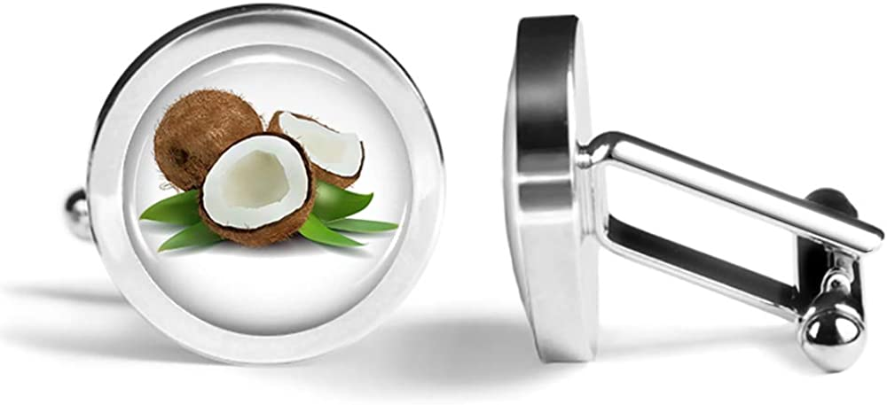 Angled Edition Oakmont Cufflinks Coconut Cufflinks Tropical Coconuts Cuff Links