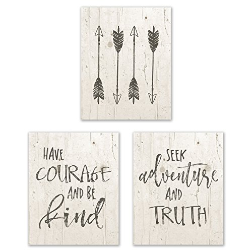 """Have Courage And Be Kind, Seek Adventure And Truth, Bohemian Prints – Set of Three (3) Prints – Size 8""""x10"""" – Unframed Prints – Matte Finish – Great addition to any Nursery Room"""