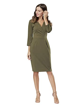 c1b3c3c1 HiQueen Women Vintage V-neck Office Work Business Party Bodycon Pencil Dress,Army  Green