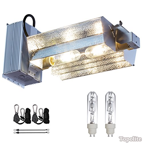 TopoLite 630W CDM CMH (Ceramic Metal Halide) Double Lamp Commercial Hydroponic Grow Light & Ballast Fixture 120/240V with Two Bulbs/ 120V Plug - Dimm Reflector