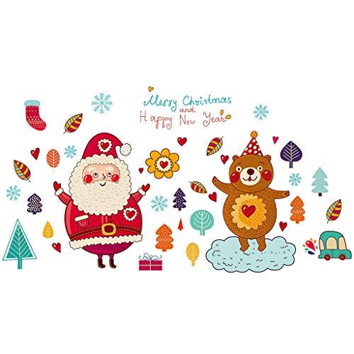 Iusun Merry Christmas Background Wall Stickers DIY Cartoon Elk Tree Gift Pattern -