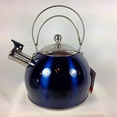 Wolfgang Puck 3 Quart Stainless Steel Whistling Tea Kettle, Midnight Blue