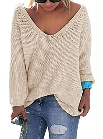 Womens Autumn Casual V Neck Loose Knit Sweater Wrap Pullover Beige S