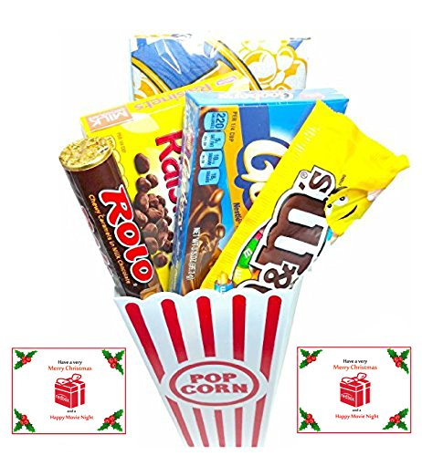 Have A Merry Christmas And A Happy Movie Night Gift Basket ~ Includes Butter Popcorn, Concession Stand Candy and a Gift Card for 2 Free Redbox Movie Rentals (Gooobers)