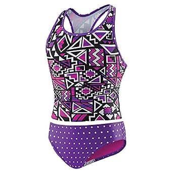 Speedo Girls' 2-Piece Swim Tankini Purple Geo (12)