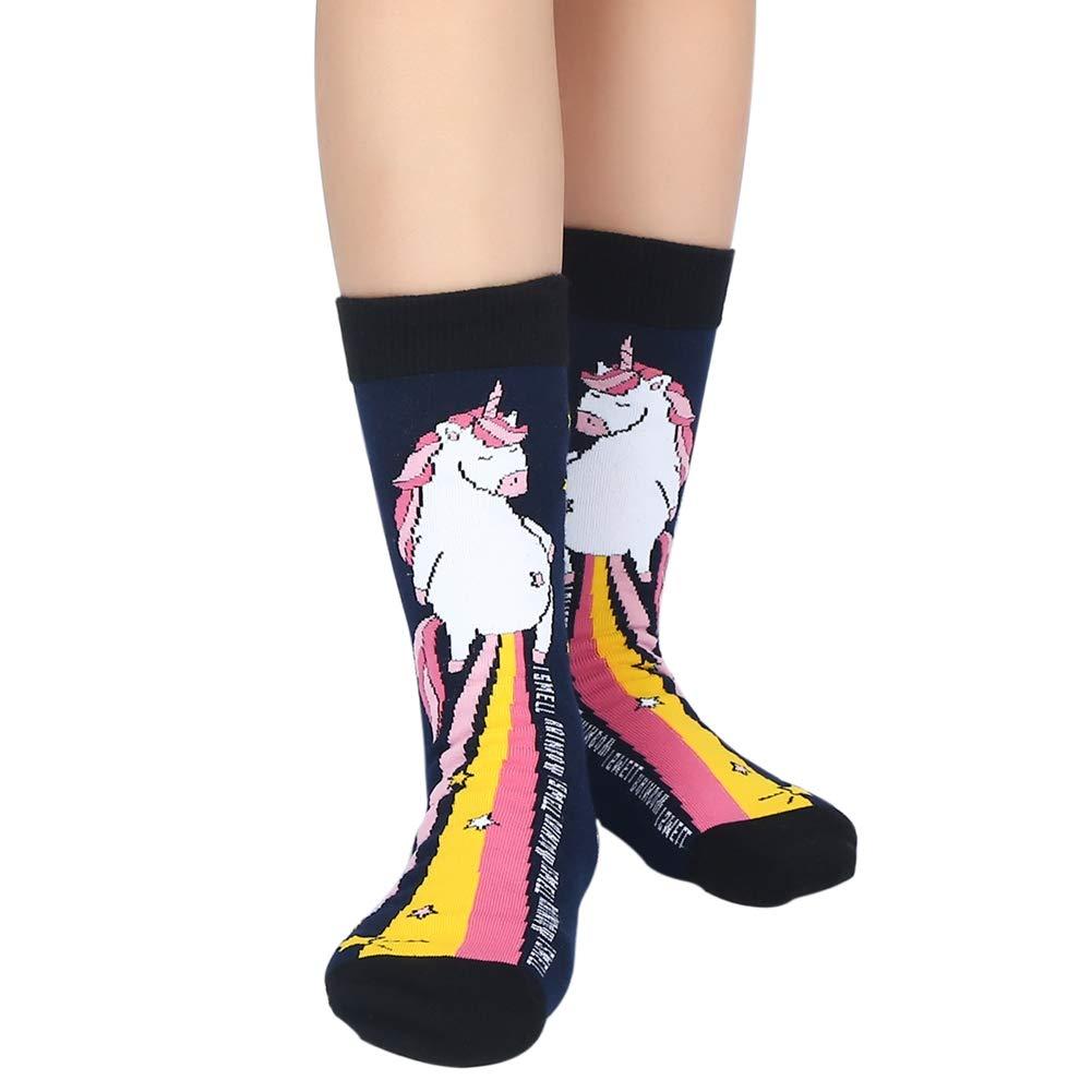 Womens Girls Funny Novelty Unicorn Crew Socks Crazy Casual Rainbow Cotton Dress Socks (Multi-2)
