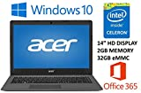 "Acer Aspire One Cloudbook AO1-431 14"" Laptop PC (2016 Newest), Intel Celeron N3050, 2GB DDR3L Memory, 32GB eMMC, Windows 10, 1-year Office 365 Personal, up to 12 hrs battery life"