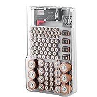 El estuche de almacenamiento del organizador de la batería con tapa transparente con bisagras, incluye un probador de batería extraíble, contiene 93 baterías, varios tamaños