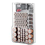 Tools & Hardware : The Battery Organizer Storage Case with Hinged Clear Cover, Includes a Removable Battery Tester, Holds 93 Batteries Various Sizes