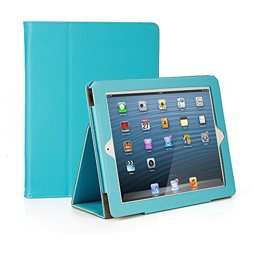 Ruban iPad 2/3/4 Case Release [Corner Protection] - [Scratch-Resistant] and High-Grade PU Leather Folio Stand Smart Cover, Auto Wake/Sleep for Apple iPad 2th/3th/4th Gen with Retina Display, Sky Blue