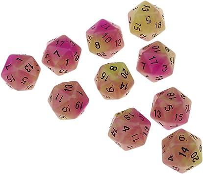 B Blesiya 10x Dados D20 Dice Dado para Juegos de Mesa - Púrpura + Verde: Amazon.es: Juguetes y juegos