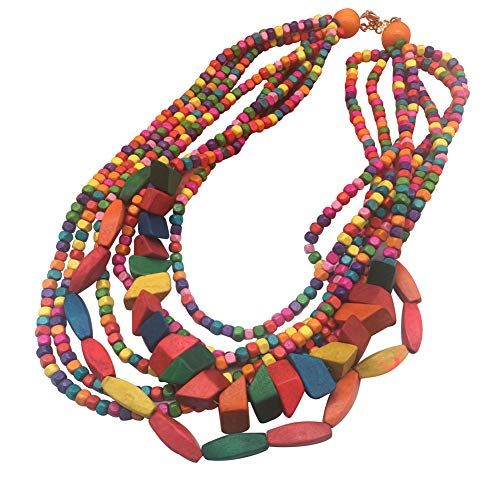 Halawly Multicolored Beaded Wood Bead Layered Necklace (Multicolor)]()