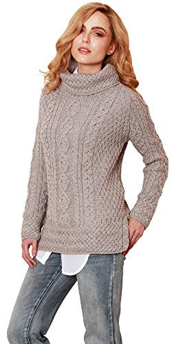 Carraig Donn Ladies 100% Merino Wool Vented Roll Neck Jumper, Dark Beige Colour