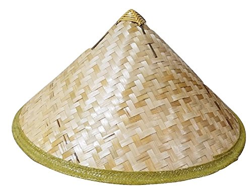 Bamboo Cone Sun Hat Asian Vietnamese Japanese Straw Farmer Costume Accessory -