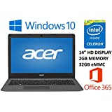 Acer Aspire One Cloudbook AO1-431 14 Laptop PC (2016), Intel Celeron N3050, 2GB DDR3L Memory, 32GB eMMC, Windows 10, 1-year Office 365 Personal, up to 12 hrs battery life