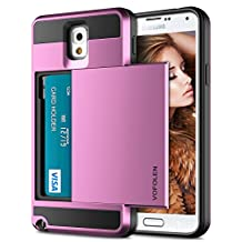 Galaxy Note 3 Case, Vofolen Galaxy Note 3 Wallet Cover Carrying Case Armor Slim Fit Protective Shell Hard PC Case + Soft TPU Bumper Cover with Card Holder Slot for Samsung Galaxy Note 3 (Pink)