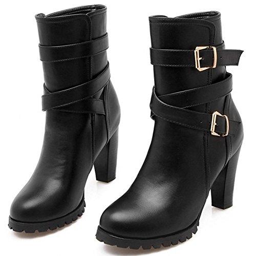 RAZAMAZA Women Fashion Buckle Strap Booties Block Chunky Heels Black E7yTB1Mrt