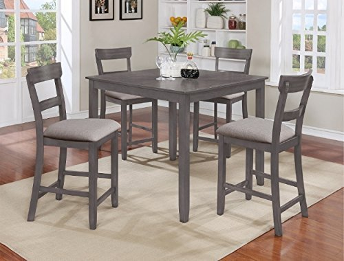 - Henderson 5-Pc Grey Wood Counter Height Table Set by Crown Mark