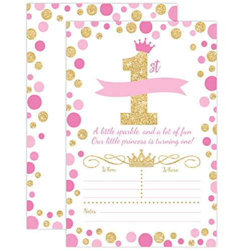 vitations, Girl First Birthday Princess Party Invites, Pink and Gold 1st Birthday, 20 Fill In Style with Envelopes (1st Birthday Party Invitations)