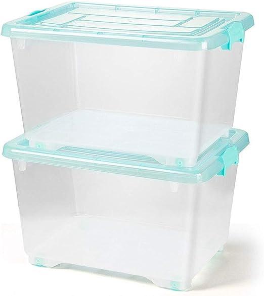 HUIQI Caja almacenaje Caja de Almacenamiento Transparente Grande.Caja de plástico de Almacenamiento, Juguete Libro Caja de Almacenamiento (Azul) Cajas almacenaje plastico: Amazon.es: Hogar