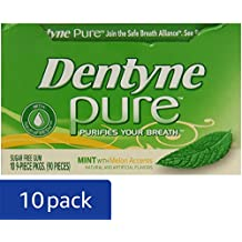 Dentyne Pure Sugar-Free Gum (Mint & Melon Accents, 9 Piece, Pack of 10)