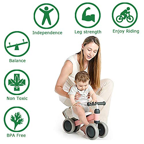 Ancaixin Baby Balance Bikes Bicycle Children Walker 6 Month - 24 Month Toys for 1 Year Old No Pedal Infant 4 Wheels Toddler First Birthday New Year Gift Orange