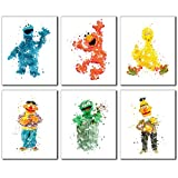 water photo - Sesame Street Watercolor Wall Art Prints - Set of 6 Photos Elmo Big Bird Cookie Monster Burt Ernie Oscar the Grouch