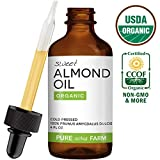 Sweet Almond Oil for Skin and Hair by Pure Acres Farm. USDA Certified Organic, Cold Pressed, 100% Unrefined, Hexane Free. Therapeutic Massage Carrier Oil for Face, Body (4oz)