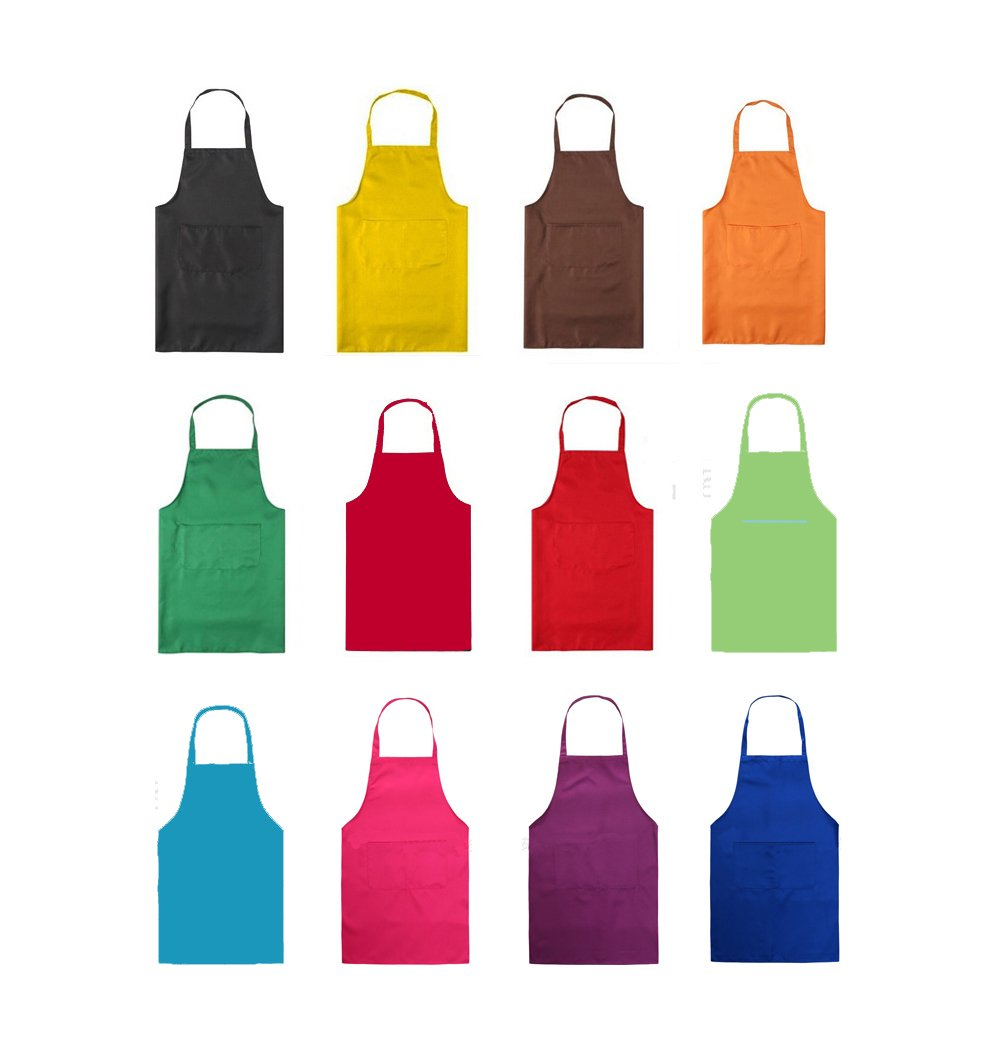 TSD STORY Total 12 PCS Plain Color Bib Apron Adult with 2 Front Pocket by TSD STORY (Image #2)