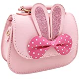 Little Girls Crossbody Purse for Kids - Toddler PU Leather Mini Cute Handbags Shoulder Bag (PINK)