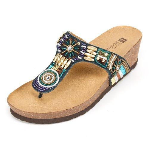 (WHITE MOUNTAIN 'Brilliant' Women's Sandal, Navy - 7 M)
