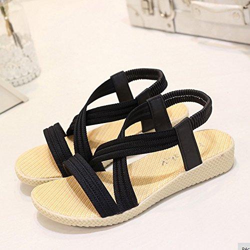 de d'été Femme Elastique Cuir en Sandales Sandale Noir Plates Sfit Bande Poisson PU Bouche xqEXdqz