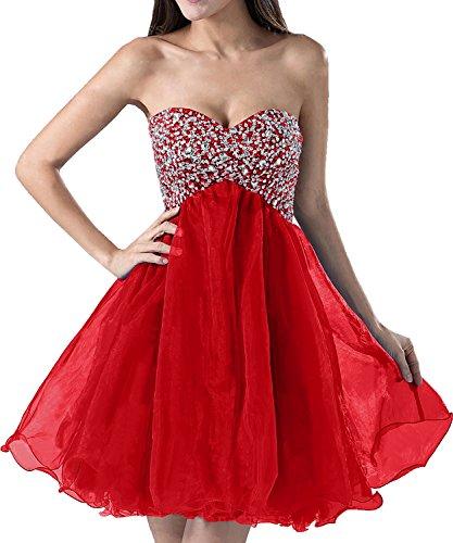 Abendkleider Promkleider Organza Partykleider Rot Cocktailkleider Ivydressing Rueckfrei Traegerlos Liebling Kurz Strass Damen qxTOacXRAw