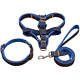Dog Leash Harness, 3pcs Rescue No-Pull Harness Leash Collar, Adjustable and Heavy Duty Denim for Large/Medium/Small Dog