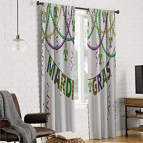 Mozenou Polyester Microfiber Window Curtains Mardi Gras,Festive Design with Fleur De Lis Icons Hanging from Colorful Beads,Purple Green Yellow W108 x L96 Inch