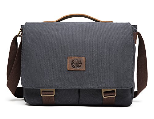 Messenger Bag BEFAiR Canvas Satchel Vintage Shoulder Crossbody Bag Briefcase for Men and Women Black